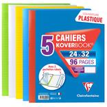 5 CAHIERS PIQURES AVEC RABATS KOVER BOOK 24X32 CM 96 PAGES SEYES 90G