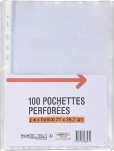 LOT DE 100 POCHETTES PERFORÉES