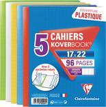 LOT DE 5 CAHIERS KOVERBOOK 17X22CM AVEC RABATS CLAIREFONTAINE
