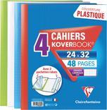 LOT DE 4 CAHIERS KOVERBOOK 24X32CM AVEC 2 POCHETTES RABATS CLAIREFONTAINE