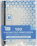 LOT DE 100 POCHETTES PERFORÉES U