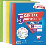 LOT DE 5 CAHIERS KOVERBOOK 24X32CM AVEC 2 POCHETTES RABATS CLAIREFONTAINE
