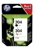 PACK CARTOUCHE N°304 NOIR + 3 COULEURS HP