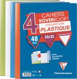4 CAHIERS CLAIREFONTAINE 24X32 CM KOVERBOOK AVEC RABATS 48 PAGES 90 G
