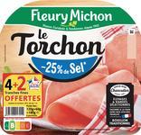 JAMBON LE TORCHON SANS COUENNE -25% DE SEL FLEURY MICHON