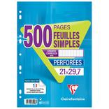 500 FEUILLES SIMPLES OU COPIES DOUBLES PERFOREES CLAIREFONTAINE 21X29,7 CM 90G